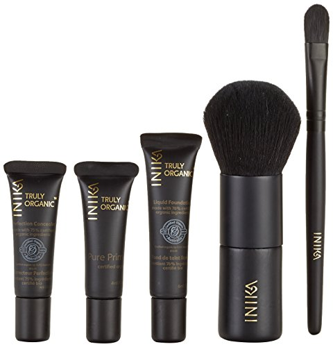 INIKA Face In A Box, Makeup Gift Set, Essentials Starter Beauty Kit, All Natural Formula, Travel Sizes Primer, Foundation, Bronzer, Concealer, Blush, Vegan Kabuki Brush Nurture