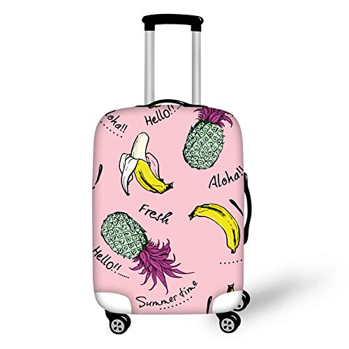 (Bigcardesigns Trendy Pineapple Print Suitcase Cover Spandex Protect Luggage Covers Size L fit 26-28inch)