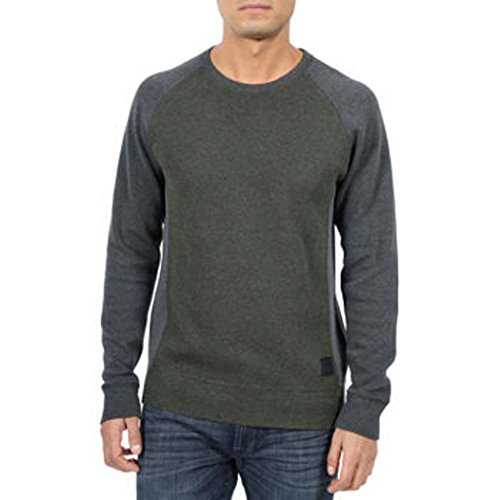 DKNY Jeans Men's Sweater Color Block Pullover, Olive, X-Large