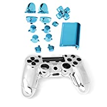 Generic Chrome Full Replacement Controller Hydro Dipped Shell Mod Kit for PS4 Blue