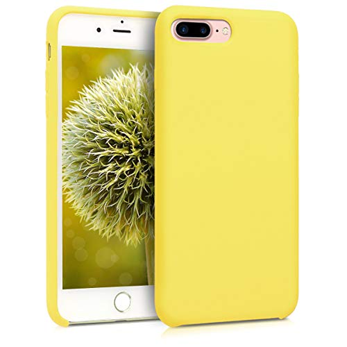kwmobile TPU Silicone Case for Apple iPhone 7 Plus / 8 Plus - Soft Flexible Rubber Protective Cover - Pastel Yellow