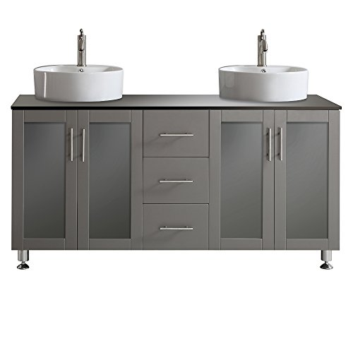Vinnova 745060-GR-BG-NM Tuscany 60' Double Vanity in Grey with White Vessel Sink with Glass Countertop without Mirror