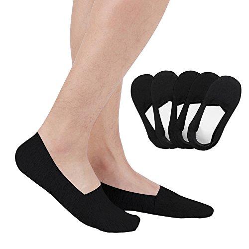 Aoboiepye Casual No Show Liners Socks For Men 5 pack Non Slip Boat Socks Black