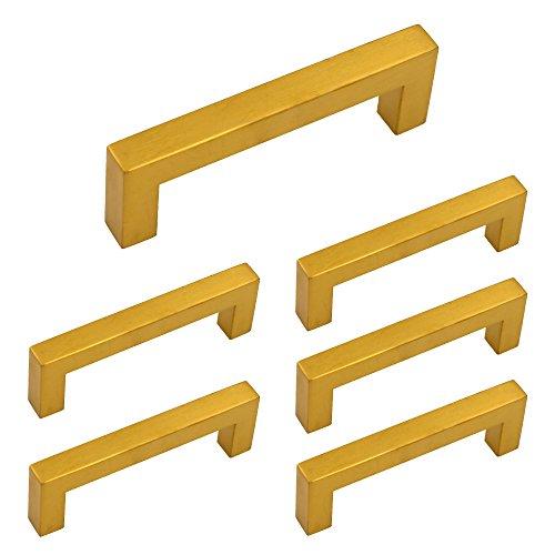 3-3/4 inch Cabinet Pulls Brass Gold - Homdiy HDJ12GD Modern Bathroom Office Desk Drawer Dresser Handles 6Pack Stainless Steel Square Closet Drawer Pulls Kitchen Bathroom Cabinet Hardware Knobs ()