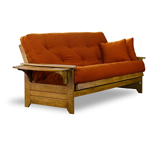 Brentwood Tray Arm Full Size Wood Futon Frame - Heritage Finish