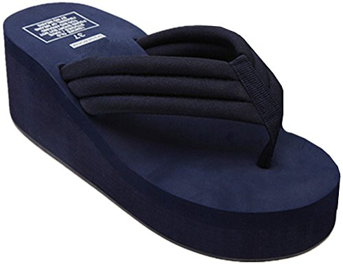 Thong Blue Summer ANBOVER Sandals High Wedge Flops Beach Flip Womens Platform waYqO