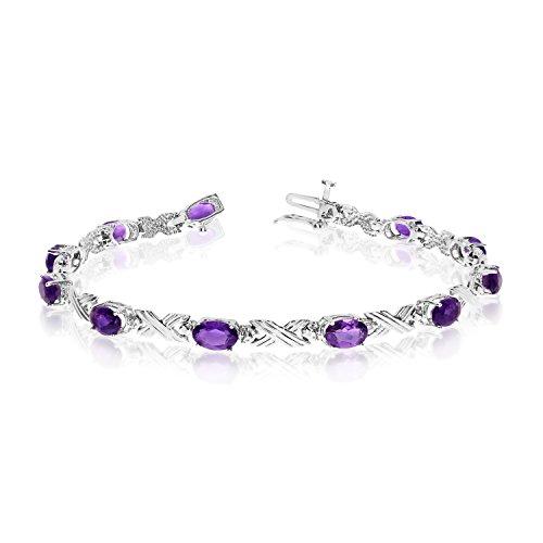 "3.74 Carat (ctw) 14k White Gold Oval Purple Amethyst and Diamond 'X' Link Tennis Bracelet - 7"" Length"