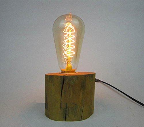 Retro Vintage Wood Block Table Lamp Edison Bulb Industrial