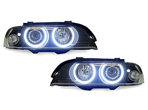 UHP LED Angel Eyes Halo Black D2S Housing Clear Corner Projector Headlight with Auto-Leveling motor For Stock XENON MODELS ONLY By DEPO FIT 1997-2000 BMW E39 5 Series Depo Clear Projector Headlights