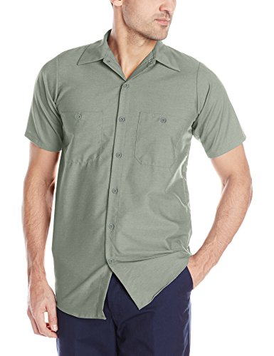 Red Kap Men's Size Industrial Work Shirt, Regular Fit, Short Sleeve, Light Grey, 4X-Large/Tall