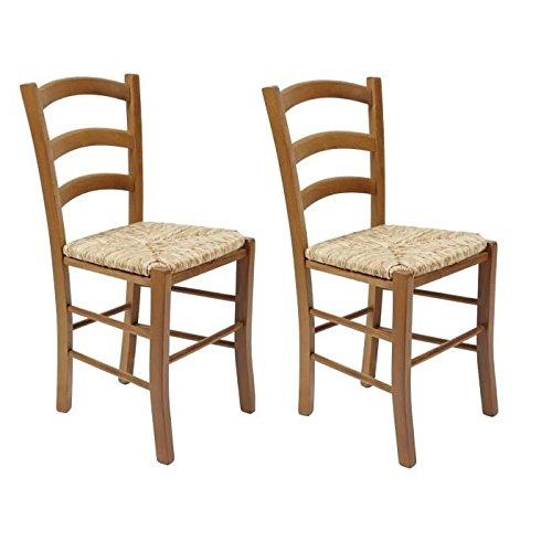 Paysanne Esszimmerstuhl 2-er Set Küche aus massivem Buchenholz mit Sitz aus Reisstroh