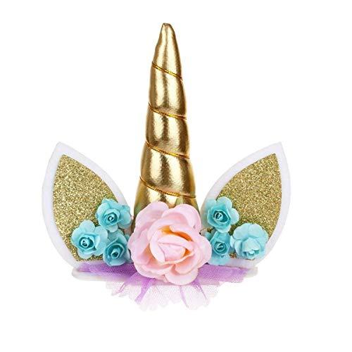 JANOU Unicorn Cake Toppers Gold Unicorn Horn Ears Silk Flower Set Cake Decoration Wedding Birthday Baby Shower Christmas Party - Arrangement Cake