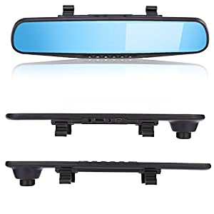 Dash Cam, Driving Record Camera with Rear Camera, LESHP Full HD 1080P Car DVR Camera Auto 5 Inch Rearview Mirror Digital Video Recorder Dual Lens Registratory Camcorder 140° Wide Angle