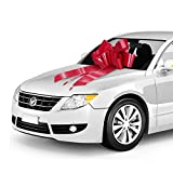 Zoe Deco Big Car Bow (30'' Red, 1 Pack), Gift Bows, Giant Bow for Car, Birthday Bow, Huge Car Bow, Car Bows, Big Red Bow, Bows for Gifts, Christmas Bows for Cars, Big Gift Bow, Party Bow, Big Gift Bow