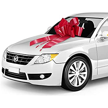 """30/"""" Big White Magnetic Car Bow Made In USA"""