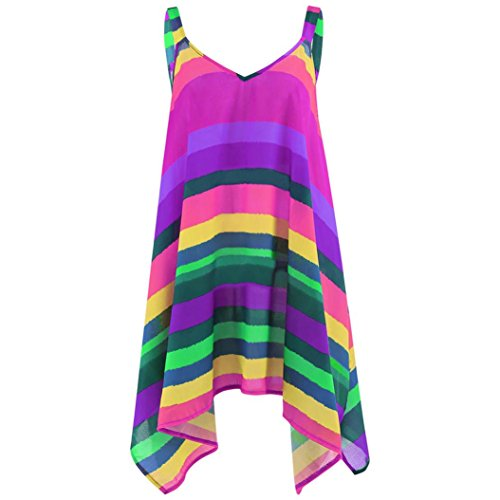 iTLOTL Women Plus Size Stripe Pullover Sleeveless Irregular Vest Tank Shirt Tops Blouse(US:10/CN:M, Purple)
