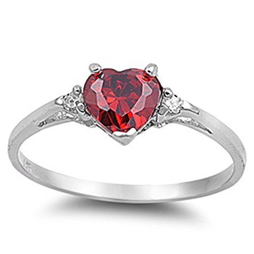 Heart Simulated Ruby & Clear stone .925 Sterling Silver Ring Size 10 (Diamond Heart Ring Ruby)