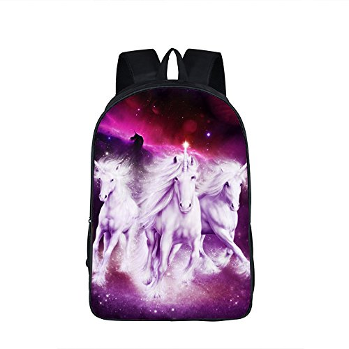 OPEN BUY Mochila unicornio purpura con salida para auriculares universidad master colegio, gimnasio, excursion