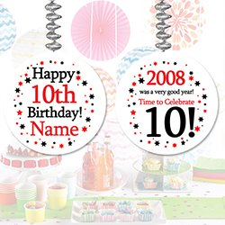 2008 10TH BIRTHDAY CUSTOMIZED DANGLER (3/PKG) by Partypro (2008 Tableware)
