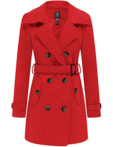 Wantdo Women's Double Breasted Pea Coat Winter Trench Jacket with Belt
