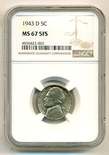 1943 D Jefferson Silver Nickel MS67 5FS NGC (Jefferson Mint Nickel Ngc)