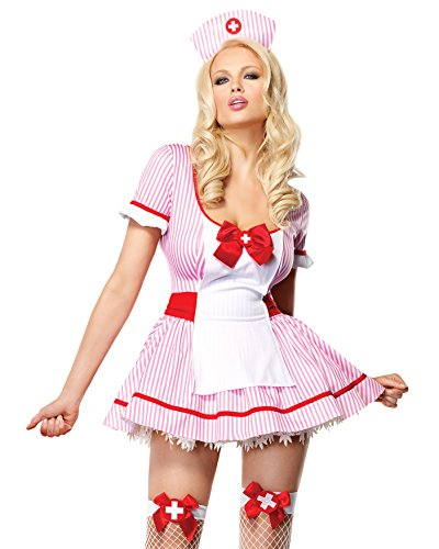 Uniform Themed Party Costume Ideas (Sexy Nurse Costume Pink White Mini Dress Nurses Uniform Adult Theatre Costumes Sizes: Large)