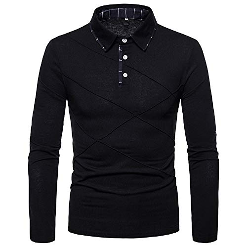 POQOQ Henley Shirts Men Neck Long Sleeve Daily Look Linen Walden Blended Thermal 3 Button Recluse Short-Sleeve XS Black]()