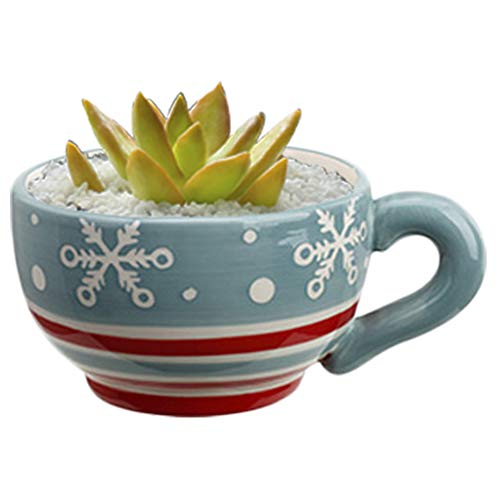 Succulent Planter Snowflake Tea Cup Christmas Flower Pot Decorations Round Ceramic Indoor Herb Zen Outdoor Railing Home Office Decor Patio Garden Landscaping Window Cactus Plant Accent Decorative Gift