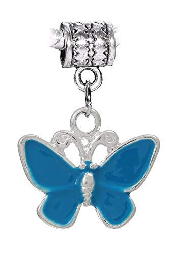 Butterfly Chain Pendant Slide - Blue Butterfly Enamel Insect Dangle Charm Gift for European Bead Slide Bracelets Crafting Key Chain Bracelet Necklace Jewelry Accessories Pendants