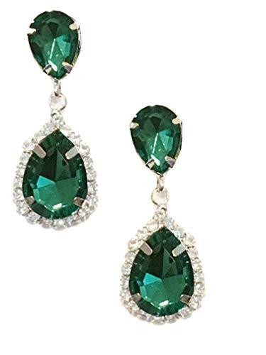 - Silver Tone Antique Vintage Retro Deco Gatsby Flapper Style Emerald Green Zircon Rhinestone Pear Wedding Bridal Earrings