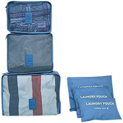 and Laundry Bags Pink Enough for 7-10 Days Trip Korenkab Travel Organizer 6 Pieces Set Including Waterproof Large Bag Middle Bag Small Bags