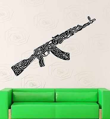 Wall Stickers Vinyl Decal War Weapons Military Ak-47 Pattern Decor VS2274