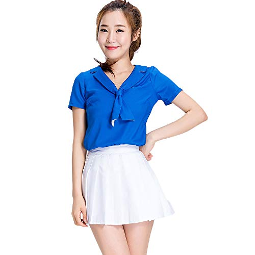 Ladies Basketball Football Baby Cheerleading Uniform, Blue top + Pleated Skirt Two-Piece, Middle School Student Group Cheerleading Stage Costume, Suitable for Halloween/Cosplay/Dance -