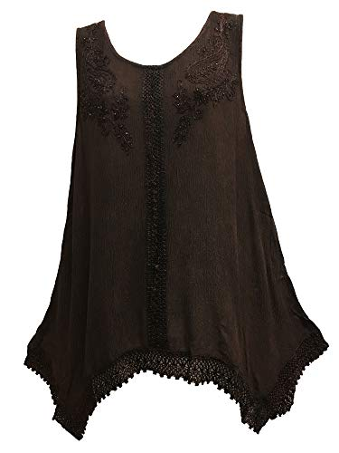 Indian Bohemian Marble Wash Embroidered Cotton Sleeveless Cami Blouse Top (Plus, Brown) ()