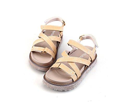 Sandalias Cinturón Mujer Redonda Denim de Imprimir Cabeza Sandalias Inferior Goma apricot Grueso CXKS® 6q1nUxw