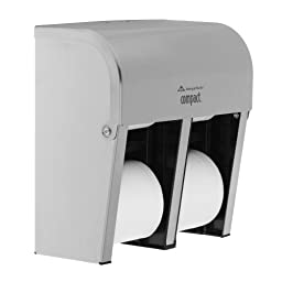 Georgia-Pacific Compact 56748 Stainless Steel Quad Vertical Four Roll Coreless Tissue Dispenser