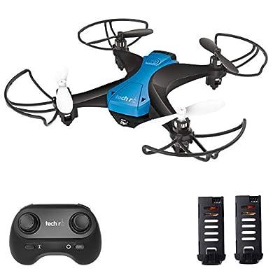 tech rc Mini Drone Fácil de Volar con Dos Baterías Función de Despegue / Aterrizaje de un Botón, Modo sin Cabeza Protectores 3D Flip 360 ° Buen Regalo para Niños y Principiantes a buen precio