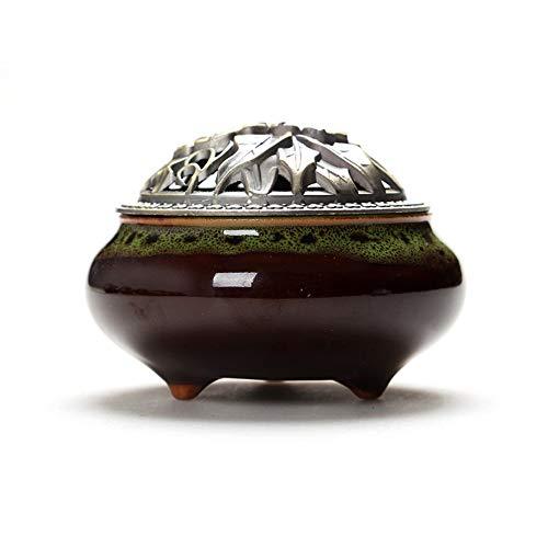 FAERIE Colorful Porcelain Incense Burner Ceramic Cone Incense Burner Holder Buddhist (H) ()