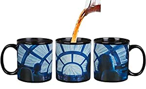 Star Wars : The Last Jedi Heat Reveal Coffee Mug - Rey and Chewbacca in Millennium Falcon - Hyperspace Activates with Heat - 20 oz
