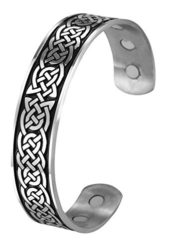 TEAMER Magnetic Therapy Bracelet Health Care Norse Irish Celtic Knot Viking Bangle Stainless Steel Antique Silver Black Pain Relief Cuff Bangle Best Gifts for Men
