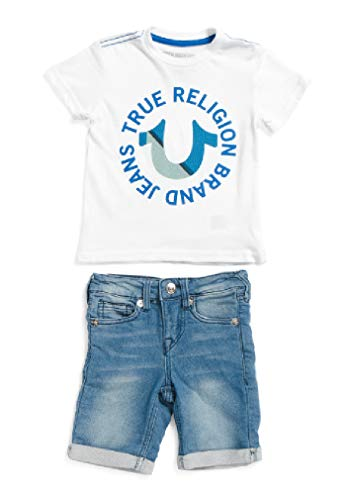 oy's Two-Piece Tee and Denim Shorts Set (White/Blue, 2T) ()