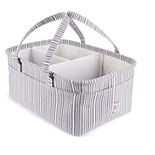 Diaper Caddy Organizer For Changing Table - Made From Natural Cotton and Polyester - Removable Dividers, Stands Up On Its Own And Reshape It - Perfect Baby Shower (Gray Diaper Caddy)