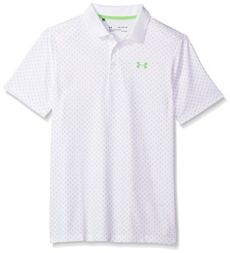 Under Armour Boys' Performance Novelty Polo, White (100)/Moroccan Blue, Youth Small ()