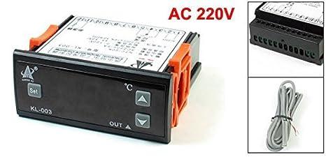 eDealMax CA 220V Termostato Digital controlador de temperatura KL 003 con el cable del sensor - - Amazon.com