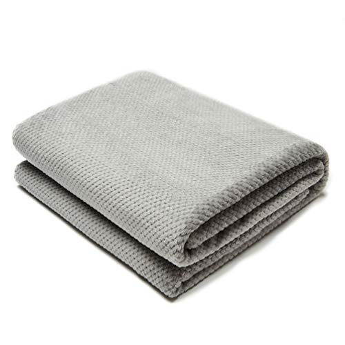 COCOPLAY W Grey Throw Blanket, Microfiber Velvet 50×60 Inches, All Season Pineapple Super Luxury Lightweight Warm Soft Cozy Blanket for Bed, Couch, Car (Couch Light Grey Microfiber)