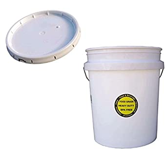 5 Gallon White All Purpose Durable Commercial Food Grade Bucket With