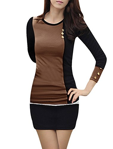Vshop-2000 Woman Round Neck Long Sleeve Contrast Color Slim Fit Top Shirt