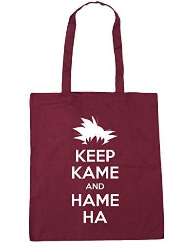 HippoWarehouse Keep Kame y Hame Ha Tote Compras Bolsa de playa 42cm x38cm, 10litros granate