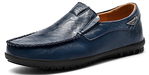 (VanciLin Men's Casual Leather Fashion Slip-on Loafers Shoes(V228Blue42))