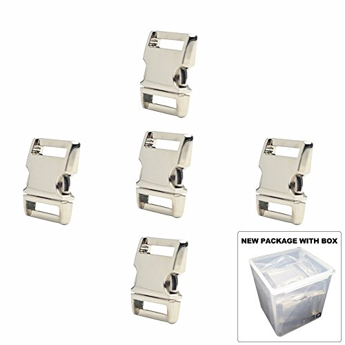 1-Inch Silver Color Heavy Duty Metal Side Release Buckles (Pack of 5Pcs) by (Silver Metal Buckle)